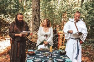 Rob (Grand Pendragon), Dana (Grand Archdruid), and Jack (Grand Almoner) performing the archdruid installation ritual